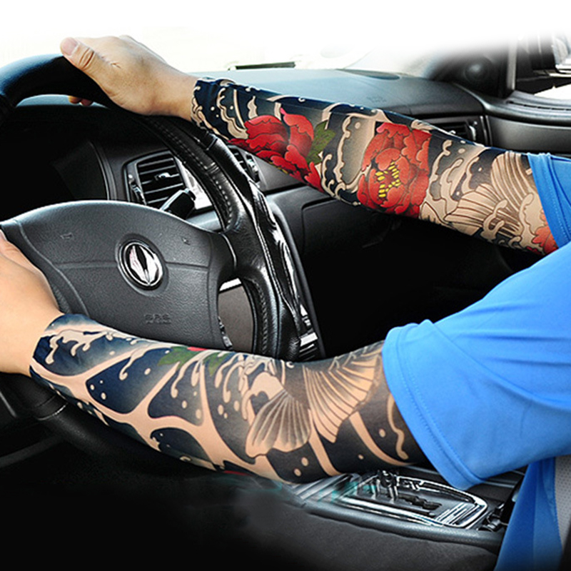 1Pair Elastic Warmer Skins Arm Protection Temporary Outdoor Riding Anti Sun Ice Sleeve Arm Stocking Child Adult Tattoo Sleeve