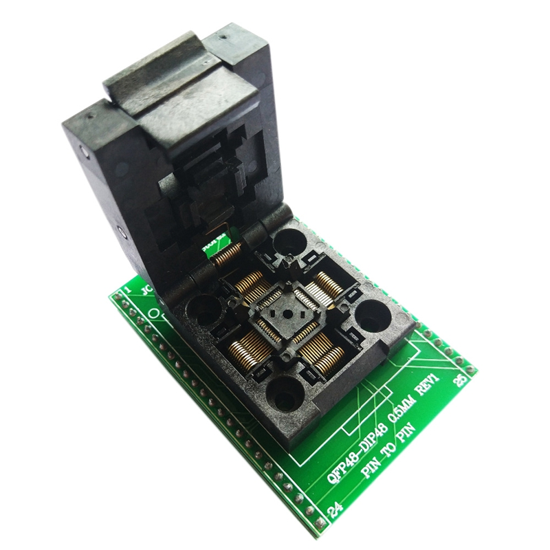 Tqfp48 Qfp48 To Dip48 0.5Mm Pitch Lqfp48 To Dip48 Programming Adapter Mcu Test Ic Socket Programmer Adapter Socket