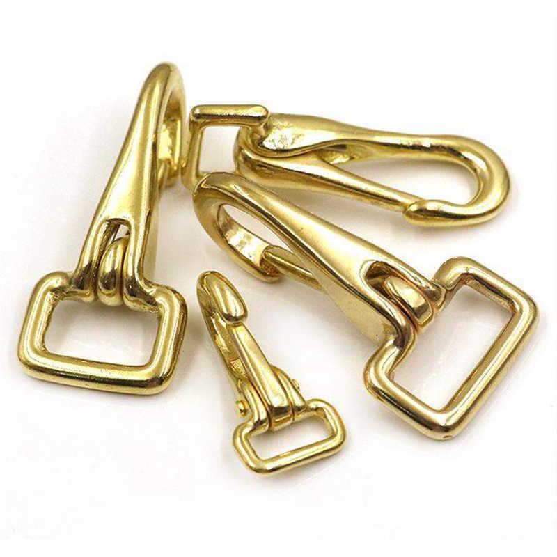 固体真鍮ホルタースナップフックバッグクラスプ犬首輪ペットの首輪ロープストラップウェビングクリップ革アクセサリー
