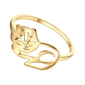 Кольцо DOTIFI в виде кошки из нержавеющей стали 316L золотого и серебряного цвета, модные ювелирные изделия для мужчин и женщин, вечерние ювелирн...