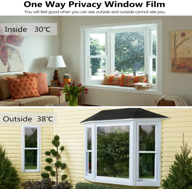 One Way Mirror Window Film Privacy Self-Adhesive Reflective Window Tint Heat Control Anti-UV Glass Stickers for Home Office 2
