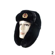 2020 Soviet Army Military Badge Russian Ushanka Winter Trapper Cap Women Hats For Men Earflap Faux Fur Caps Rabbit Bom