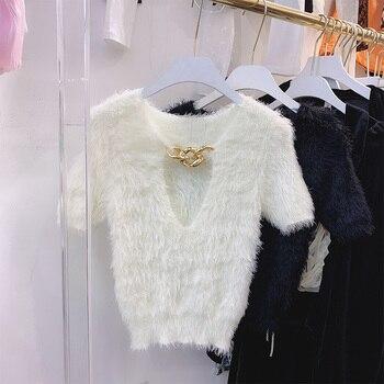 Nancylim 2020 Autumn New Imitation Mink Fur Tshirt Women Fashion Soft Tight Shirt Simple Neckline Chain Short Sleeve Pull Top v neckline fluted sleeve gingham top