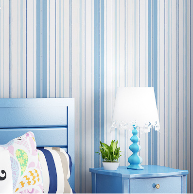 Warm Stripes Bedroom Nonwoven Fabric Self-Adhesive Wallpaper Stores Clubhouse Flower Shop Tea Shop Self-Adhesive Wallpaper