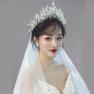 Image 1 - New Design Pearl Big Crown Wedding Tiara And Crown Gorgeous Black Wire Handmade Headband  Vintage Jewelry Bridal Headpiece