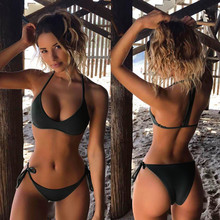Seksowne stringi Bikini Set kobiety stroje kąpielowe 2020 nowy Push Up wyściełana brazylijski strój kąpielowy Biquini strój kąpielowy strój kąpielowy dla kobiet nowa sprzedaż tanie tanio Stałe Osób w wieku 18-35 lat Wysokiej talii Drut bezpłatne women swimsuit Dziewczyny Pasuje prawda na wymiar weź swój normalny rozmiar