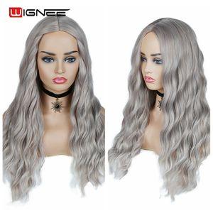 Image 4 - Wignee Ombre длинный волнистый серый термостойкий синтетический парик для женщин коричневый блонд/Серый Американский косплей/вечерние парики из натуральных волос