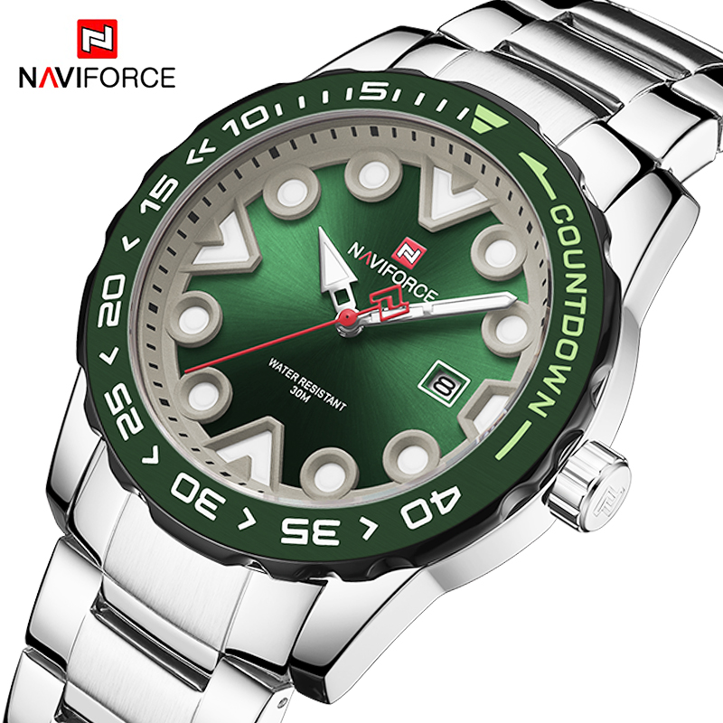 Relogio NAVIFORCE Sport Watches Mens Luxury Stainless Steel Military Date Waterproof Quartz Wristwatch Men Clock Reloj Masculino title=