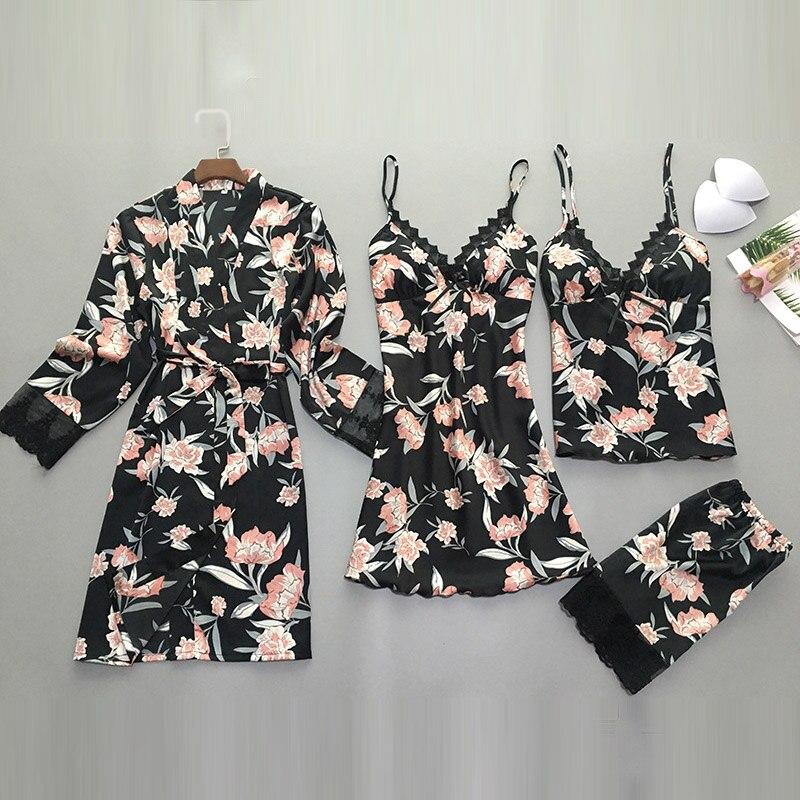QWEEK 2 Pieces/set Womens Pajamas Satin Lace Top Sexy Pajamas Women Summer 2019 Pyjama Mujer Pyjamas For Women Sleepwear Female