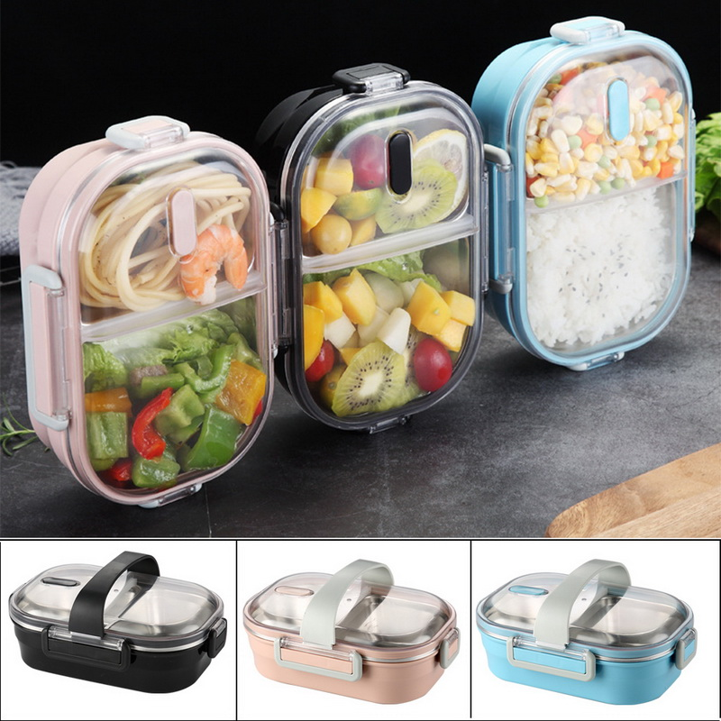 Portable Lunch Box Stainless Steel Lunch Box Container Bento Box With Strap Food Container For Children School Ofiice Picnic 1pc