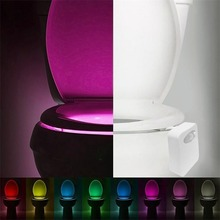 цена на HOTSmart LED Human Motion Sensor Activated Toilet Night Light Bathroom With 8 Color Toilet Seat Lamp Automatic Sensor Seat Light