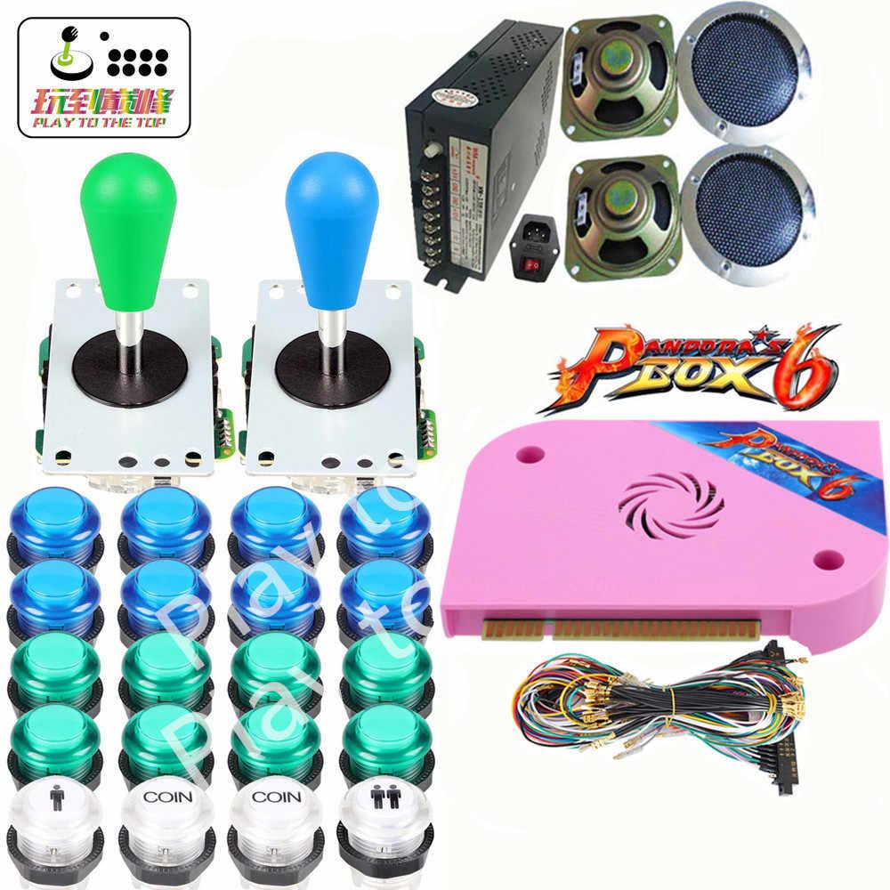 최신 판도라 박스 6 1300 1 DIY 아케이드 번들 키트 부품 비디오 게임 보드 전원 공급 장치 Jamma 배선 조이스틱 led 버튼
