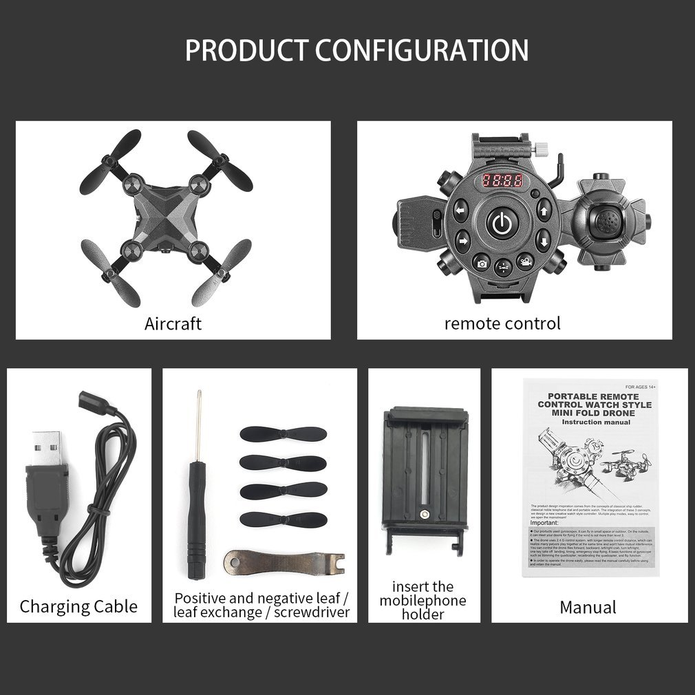 2019 New Portable Remote Control Watch Style 2.4G 0.3MP Wifi Mini Foldable Height Hold G sensor FPV Drone Quadcopter