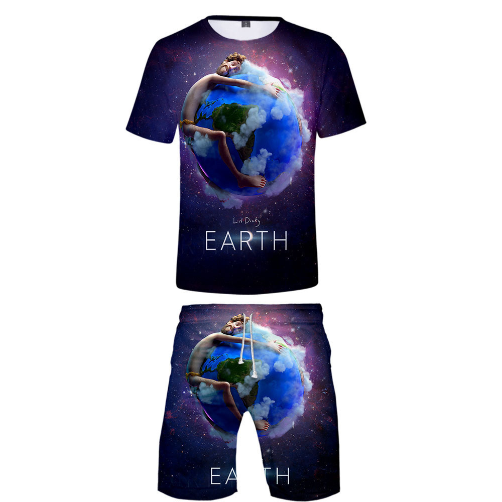 New Style Hot Sales Lil Dicky Earth Digital Printing Shorts Set