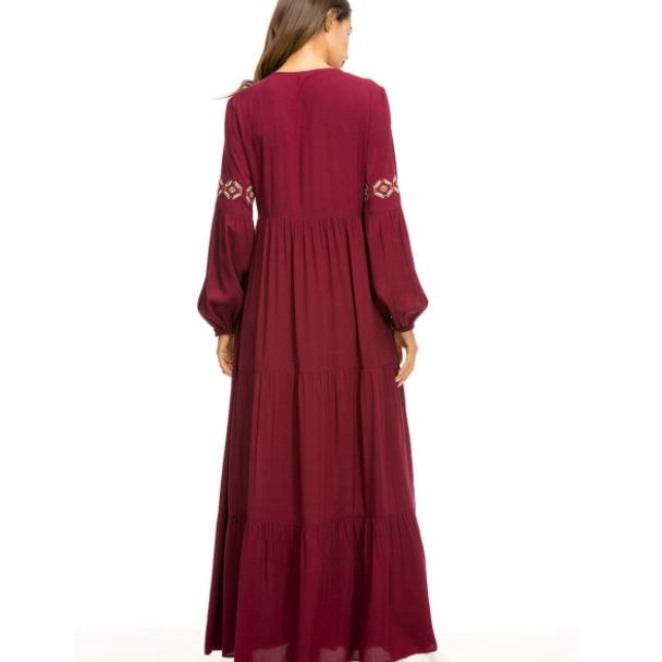 Geometrico etnico Del Ricamo Lungo Vestito Da Autunno 2020 delle Donne casual Maxi Vestiti A Maniche Lunghe Drappeggiato Altalena Borgogna Autunno DA422