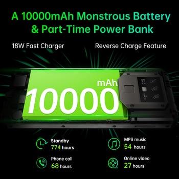 "OUKITEL K15 Plus 10000mAh NFC Smart Phone  6.52"" 3GB RAM 32GB ROM Cell Phone Quad Core Android 10 Mobile Phone MT6761 13MP 2"