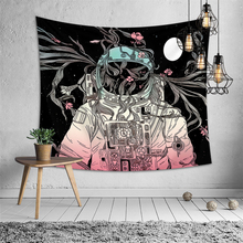 цена Nordic Wall Tapestry Mandala Fabric Smoking Cat Astronaut Women Psychedelic Tapestry Hippie Boho Dorm Personality Art Wall Tapiz