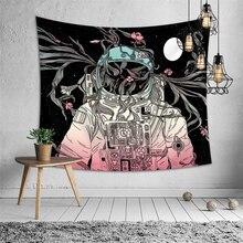 Tapiz de pared nórdico Mandala tela fumar gato astronauta mujeres psicodélico Tapiz Hippie Boho dormitorio personalidad arte pared