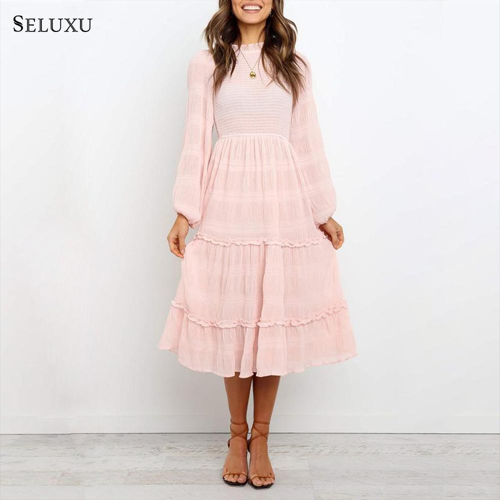 Seluxu 2019 осеннее женское платье, одноцветное платье vestidos, розовое сексуальное платье с длинным рукавом, рукав пузырь, большой размер, женское