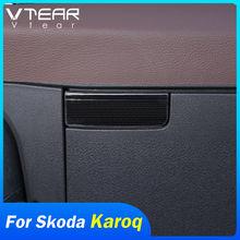 Vdéchirure – boîte à gants en acier inoxydable pour Skoda Karoq, boîte de rangement, interrupteur de poignée de porte, garniture de couvercle, paillettes, accessoires de décoration automobile