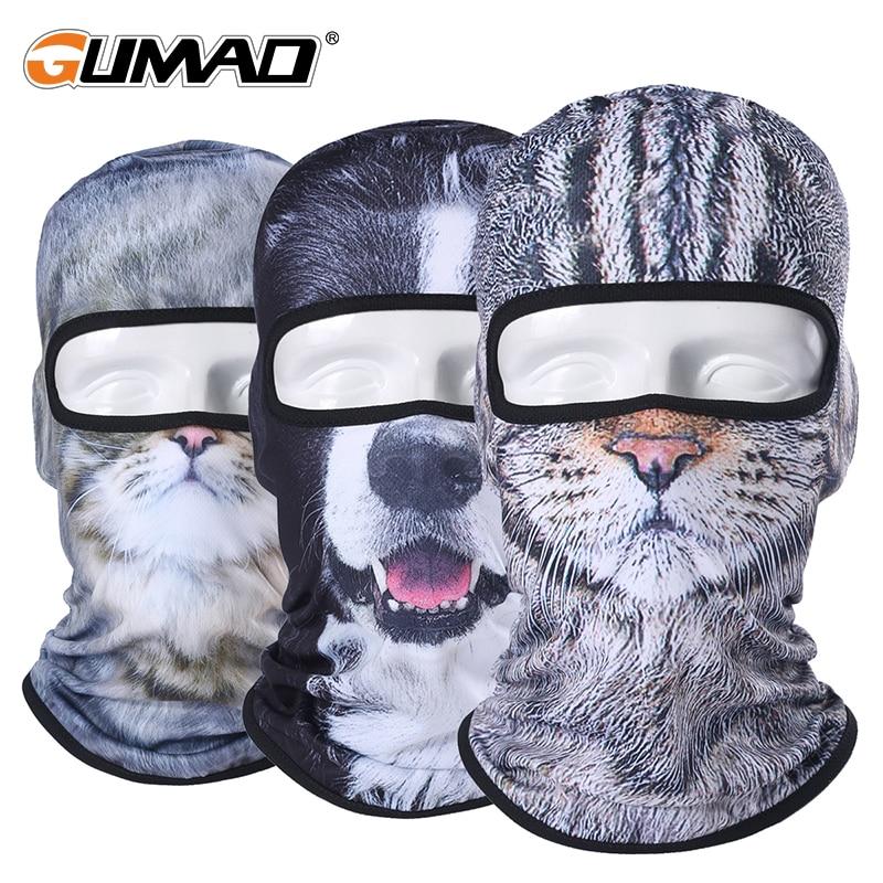 3D Cute Cat Dog Balaclava Full Face Mask Warm Helmet Liner S…