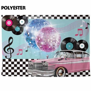 Image 2 - Funnytree photocall photography music luxurious car Disco 90 party Black white plaid backdrop photophone camera photo background