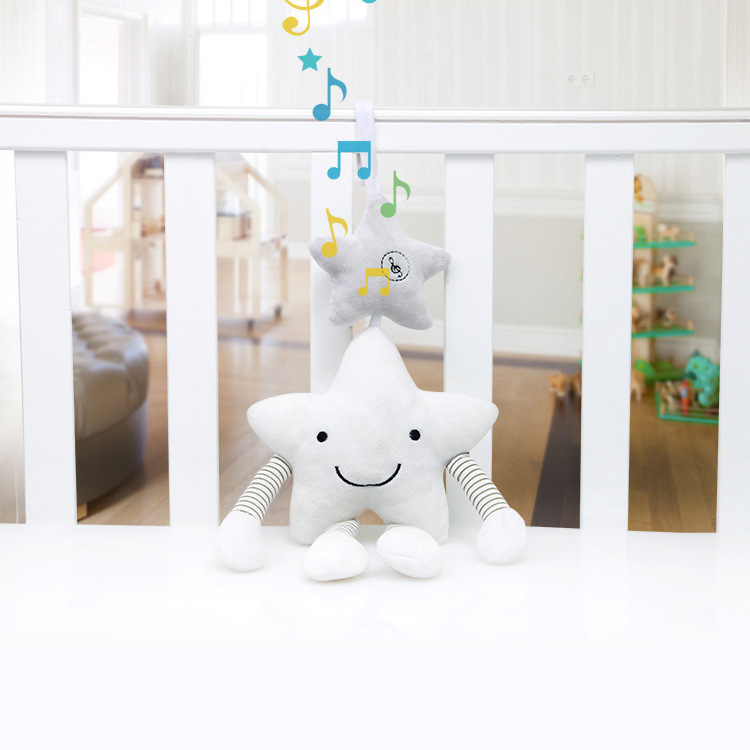 Bbsky Stroller Bed Hanging Pacify Toy Baby Five-pointed Star Music Rattle Bed Bell Pendant Plush Toys