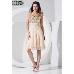 Шампанское шифон v-образным вырезом без рукавов бисером блестками длиной до колена официальное платье подружки невесты