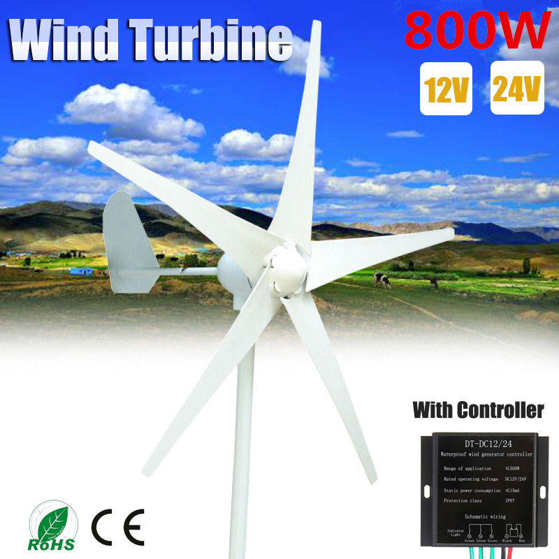 <font><b>800W</b></font> 5 Blade 12V/24V <font><b>Wind</b></font> <font><b>Generator</b></font>+Controller <font><b>Wind</b></font> Turbines Horizontal Home Powers Windmill Energy Turbines Charge image