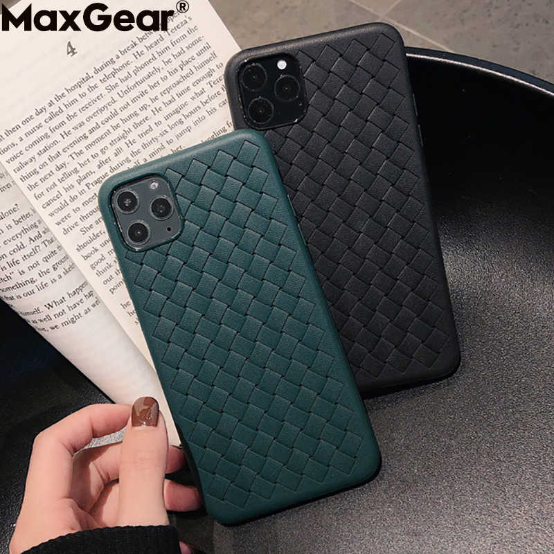 Respirant Maille étui pour iphone 11 Pro Max XS 6 6S 7 8 Plus X XR En Cuir TPU Tissage BV Housse Quadrillage iPhone11 Silicone Funda Coquille