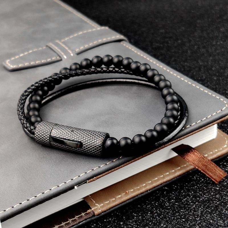 MingAo breloque hommes Bracelet perlé noir Bracelet en cuir Vintage perles de pierre naturelle en acier inoxydable femmes aimant fermoir Bracelet 3