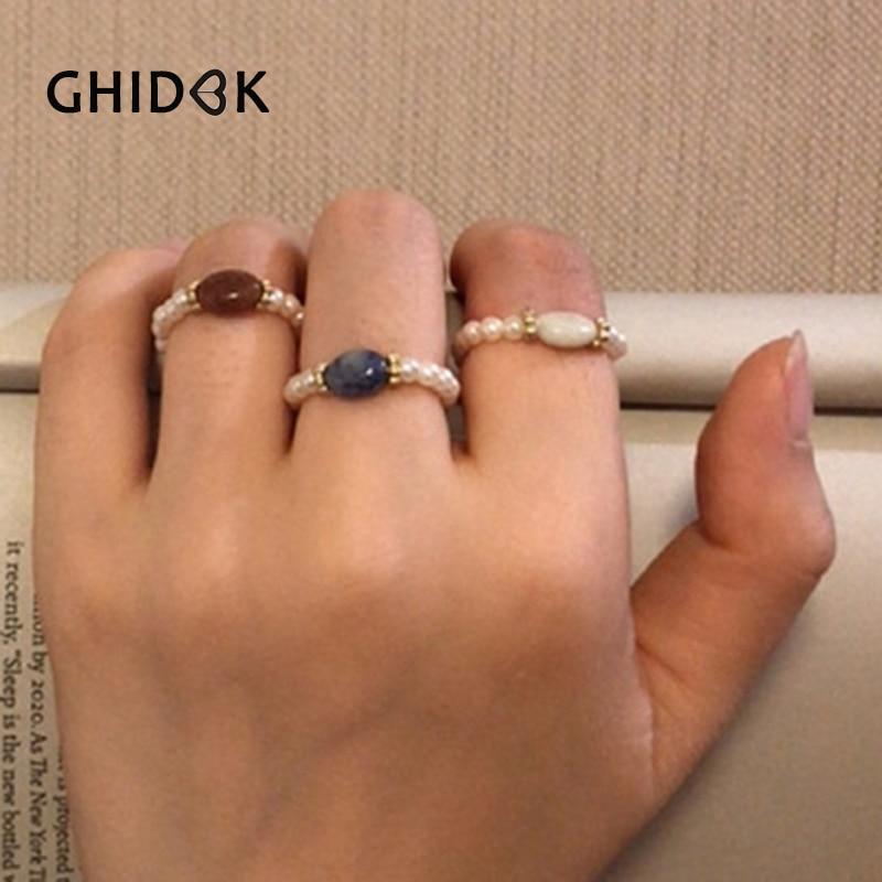 Ghidbk Boho Tiny Pearls Adjustable Rings Women Handmade Minimalist