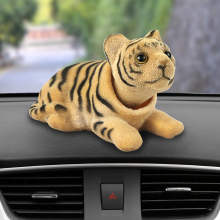 Car Ornament Nodding Tiger Doll Automotive Interior Dashboard Decoration Shaking Head Bobblehead Toys Cute Car Accessories Gifts