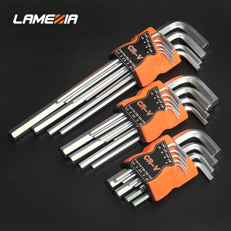 LAMEZIA 9pcs Carbon Steel Double-End Screwdriver Hex Set Spanner Allen Key Hexagon Flat Ball Torx Star Head Wrench  Hand Tool