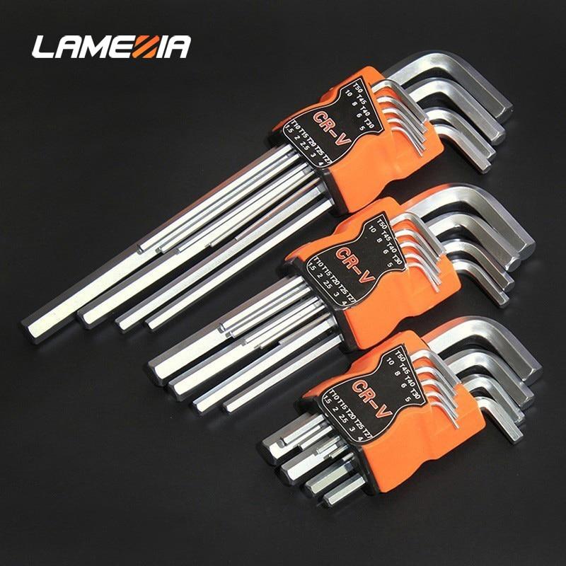 LAMEZIA 9pcs Carbon Steel Double-End Screwdriver Hex Set Spanner Allen Key Hexagon Flat Ball Torx Star Head Wrench Hand Tool