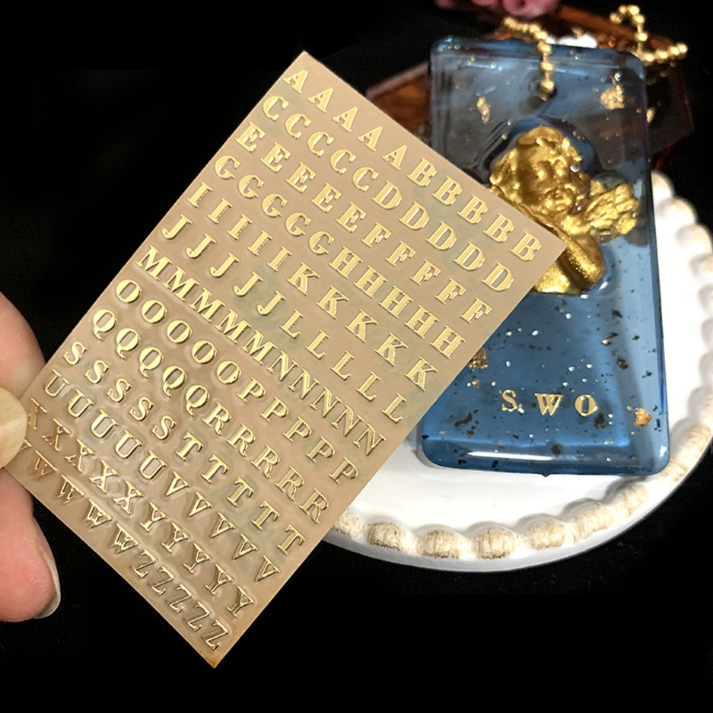 5Pcs 3mm Alphabet Letters Numbers Chunky Glitter Epoxy Resin Decorative Stickers X7YA