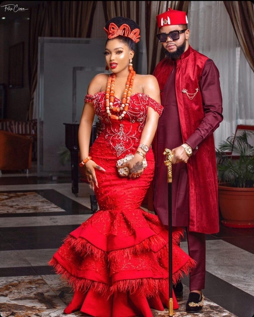 Luxury Red Feathers Aso Ebi Evening Dresses Cap Sleeves Sweetheart Mermaid Plus Size Beaded Formal Party Prom Gowns 2021 5