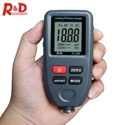 R & D TC100 автомобильный измеритель толщины краски для автомобиля измеритель толщины покрытия Россия руководство ультра-точное 0,1 микрон/0-1300 Fe...