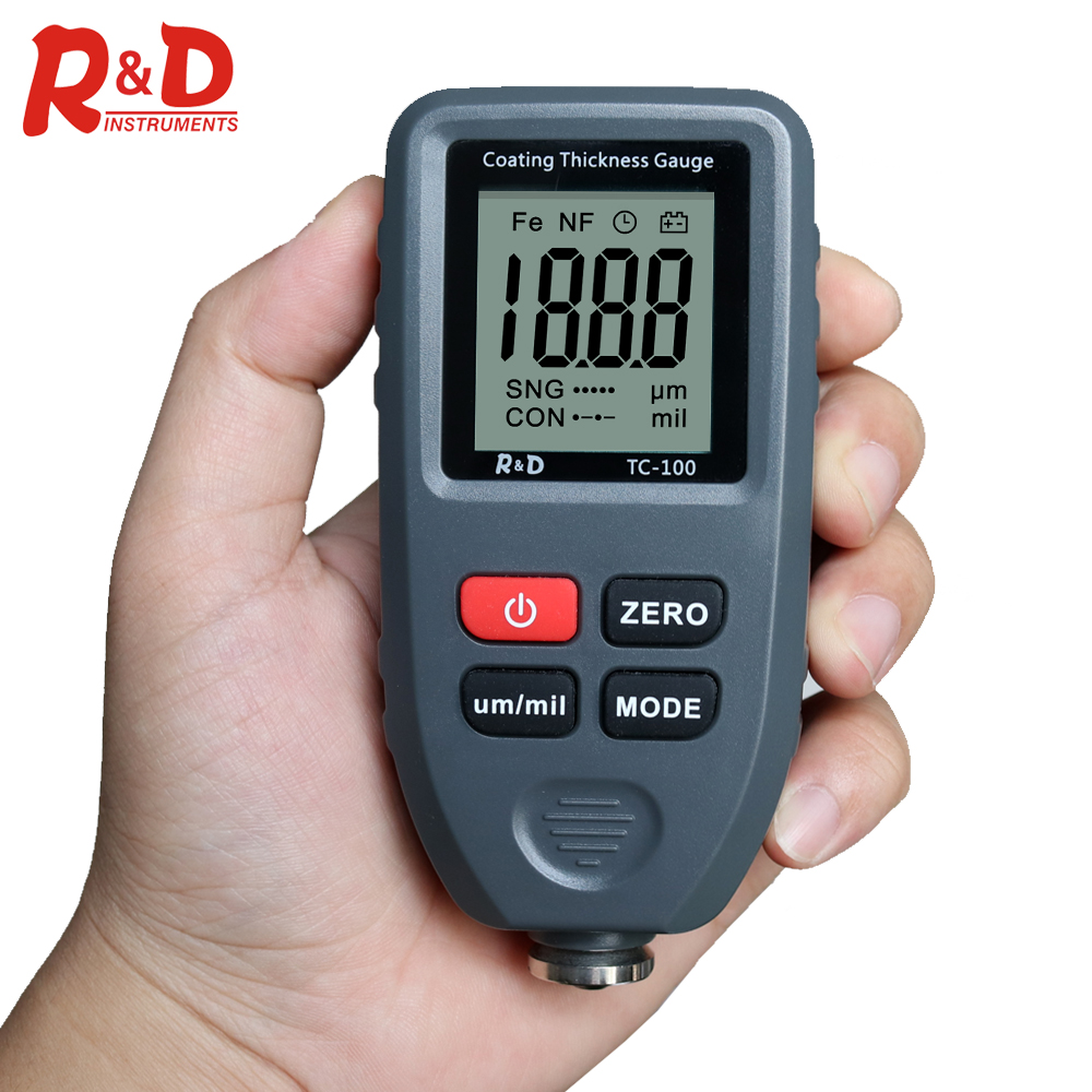 R&D TC100 Automobile Thickness Gauge Car Paint Tester Thickness Coating Meter Russia Manual Ultra precise 0.1micron/0 1300 Fe&NF|Width Measuring Instruments| |  - title=