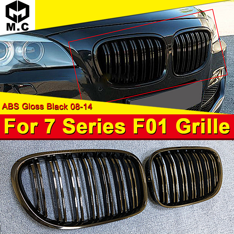 Convient pour BMW F01 2-lattes look pare-chocs avant rein Grille matériau de style de voiture noir brillant série 6 740i 745i 750i 760Li 2008-14