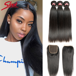 Image 1 - Sleek Brazilian Straight Hair Bundles With Closure Natural Color Hair Weave 8 28 30 Non Remy Human Hair 3 Bundles With Closure