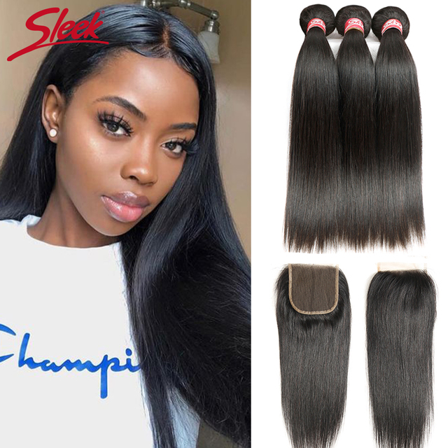 Sleek Brazilian Straight Hair Bundles With Closure Natural Color Hair Weave 8 28 30 Non Remy Human Hair 3 Bundles With Closure