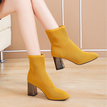 High Heels Sexy Boots Fashion Yellow Ladies Elegant Ankle Women 2019 New Fall Slip On Black Boot