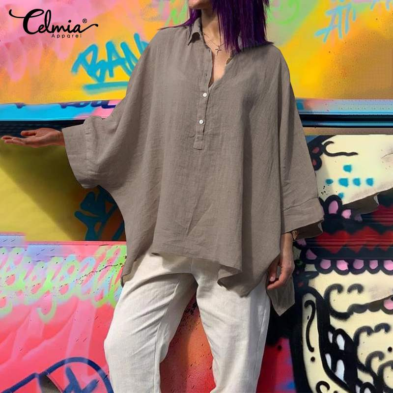 Top Fashion Celmia Women Vintage Asymmetrical Blouse Long Bat Sleeve Casual Office Work Lady Shirts Loose Buttons Blusas Femme 7