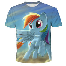 fashion bluey boy girl clothes cute unicorn T-shirt kawaii clothes boys and girls kids pony T-shirt clothing summer tops