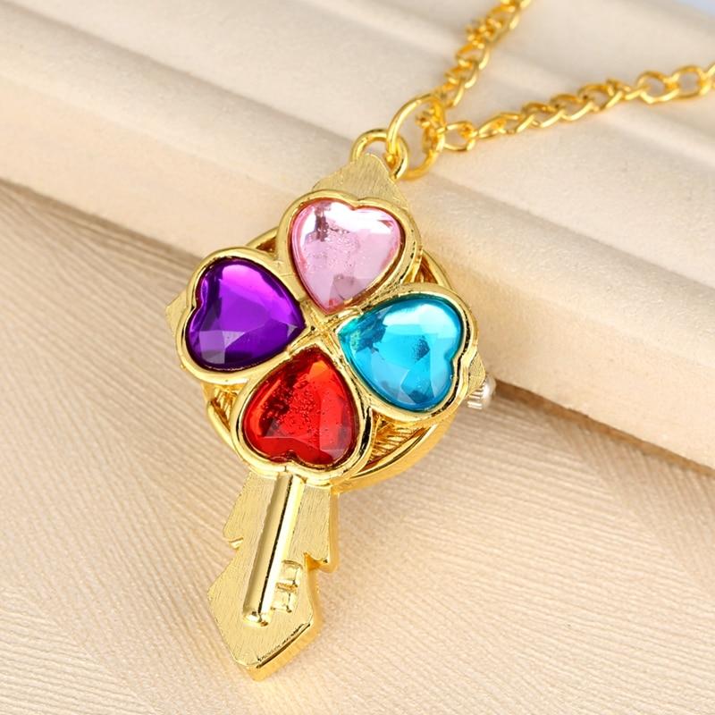 Fashion Key Shaped Quartz Pocket Watch Crystal Heart Diamond  Luxury Magic Wand Necklace Pendant Clock Gift For Women Girls Kids