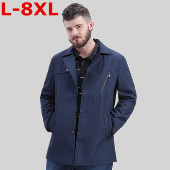plus size 8XL 7XL 6XL Spring Autumn Polyester Slim Fit Thin Stand Male Casual Jacket Men Windbreaker Jackets Coat