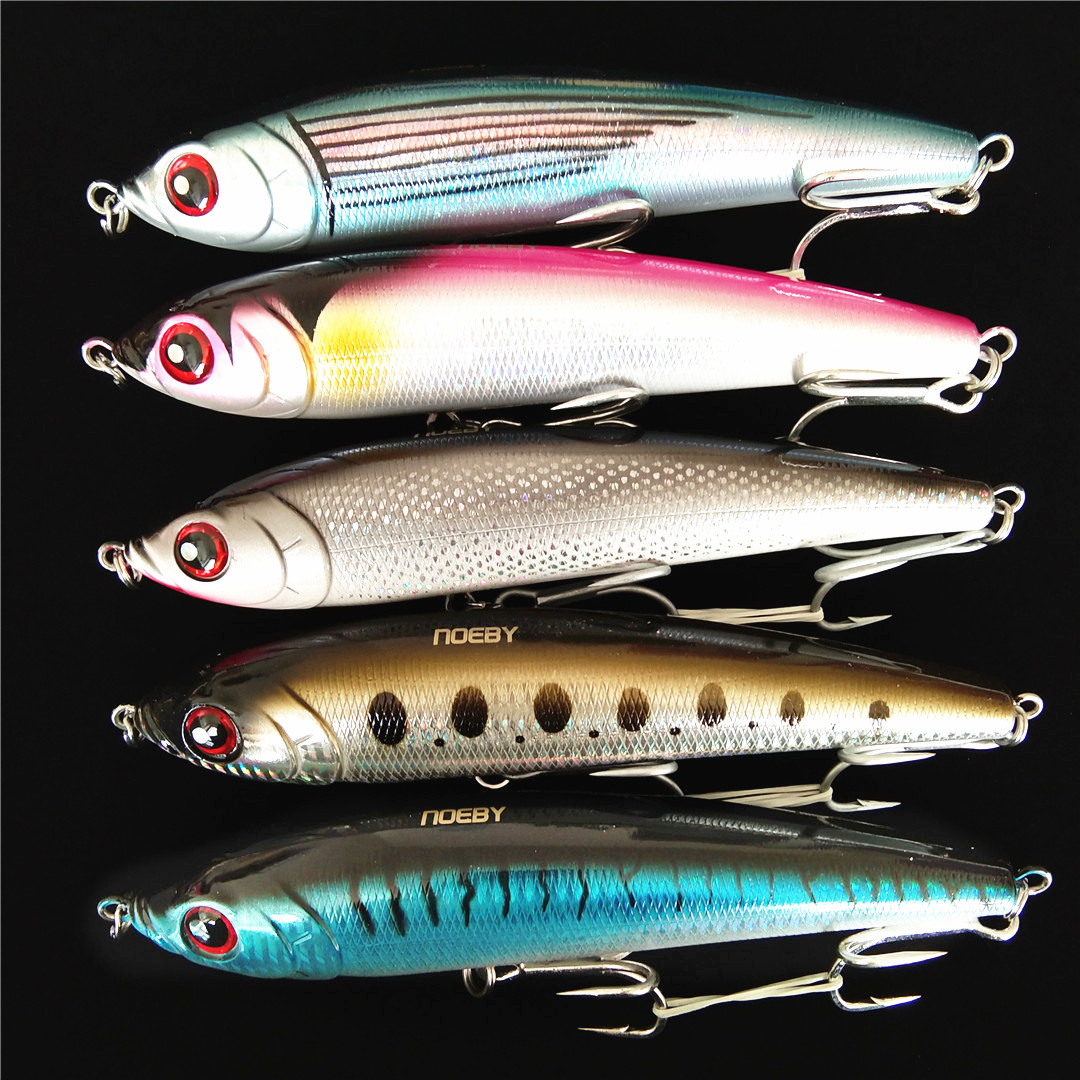 5PCS Lot Surface Popper Fishing fish red head lure hook baits 9cm 15g