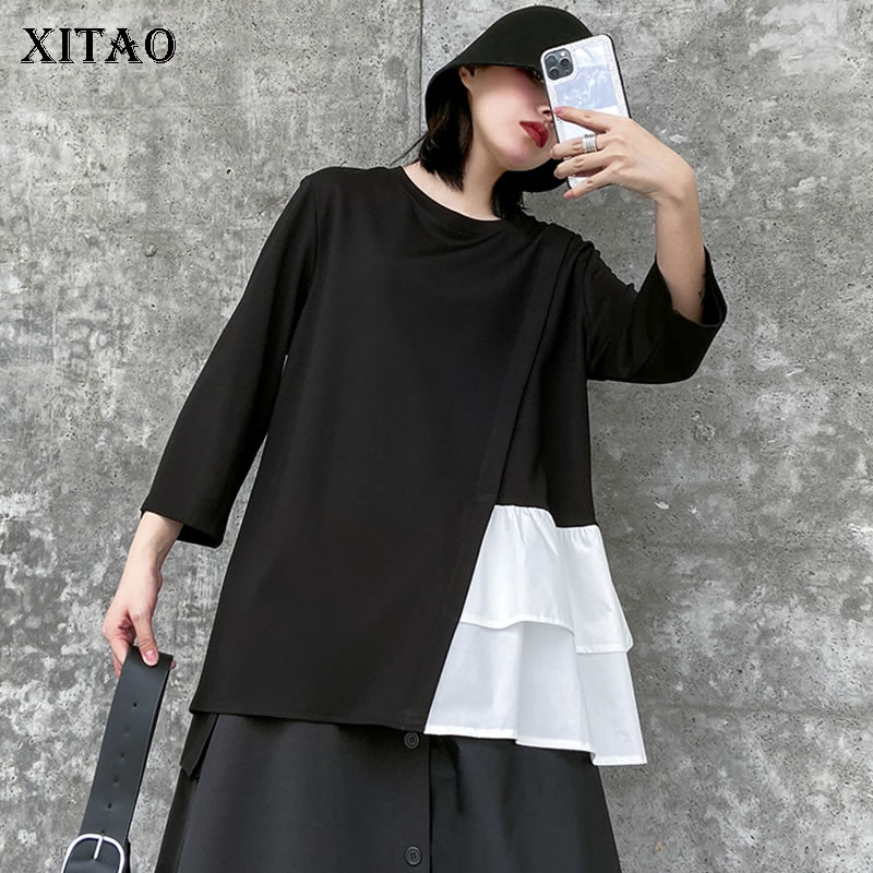 XITAO Trend Splice Hit Color T Shirt Loose Plus Size Wild Women Tops Fashion Women Clothes 2020 Nine Points Sleeve Spring XJ3938