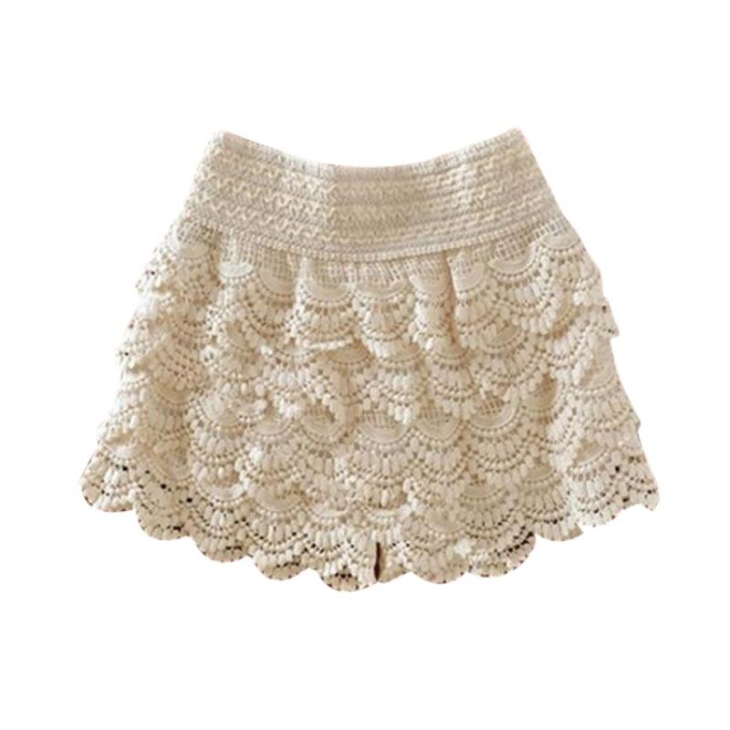 2019 New Summer Fashion Womens Shorts Sweet Style Shorts Lace Crochet Elastic Slim Short Pants